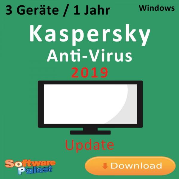 Kaspersky Anti-Virus 2019 *3-Geräte / 1-Jahr* Update, Download