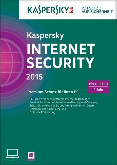 Kaspersky Internet Security, 5 User, 1 Jahr, gültig für 2015/2016, KEY
