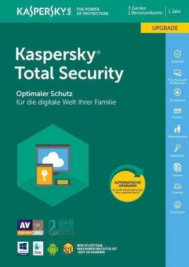 Kaspersky Total Security, Upgrade, 3 Geräte, 1 Jahr, Download