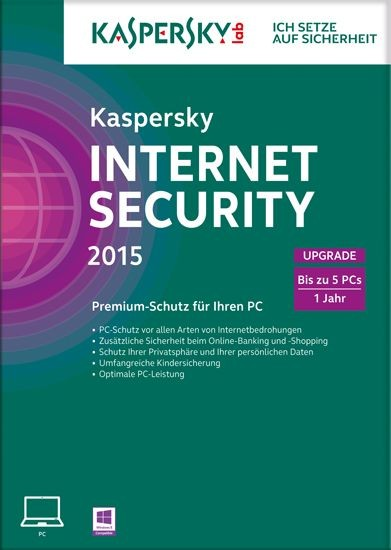 Kaspersky Internet Security, Upgrade, 5 User, 1 Jahr, gültig für 2015/2016, KEY