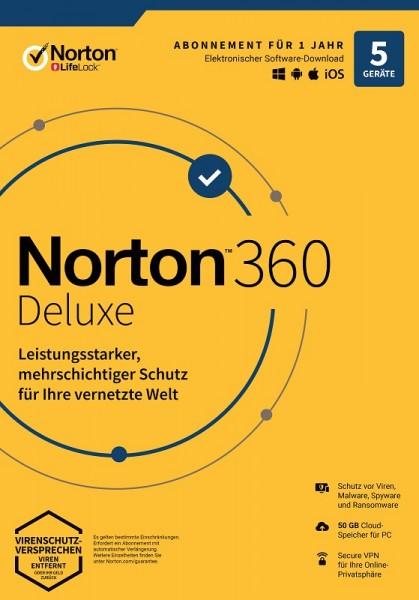 NORTON 360 DELUXE 5 Geräte / 1 Jahr inkl. 50GB, KEIN ABO, ESD Download KEY