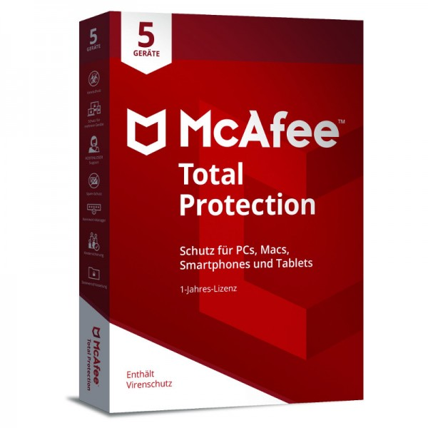 McAfee Total Protection (2018) 5 Geräte 1 Jahr MINI-BOX (Code Only)