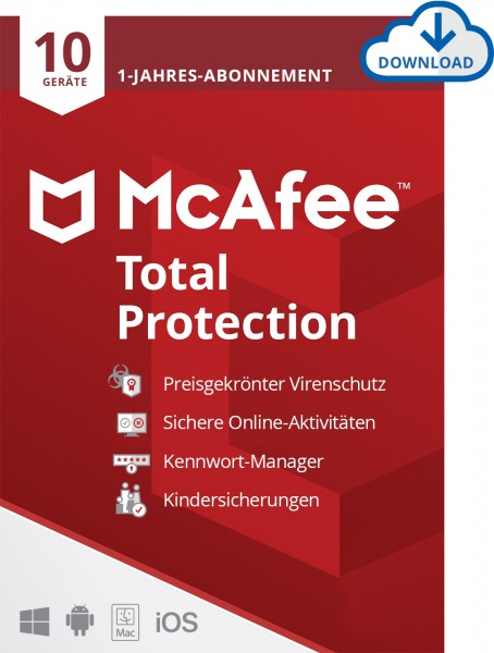 McAfee Total Protection - 10 Geräte, 1 Jahr, ESD, Lizenz, Download
