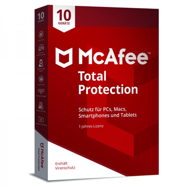 McAfee Total Protection (2018) 10 Geräte 1 Jahr MINI-BOX (Code Only)