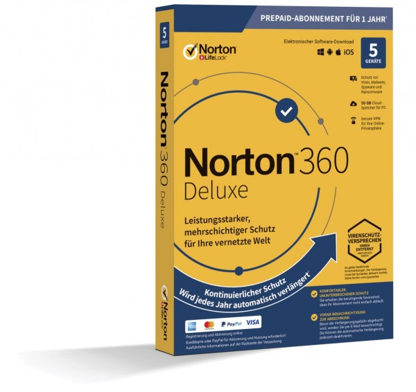 NORTON 360 DELUXE (Internet Security) 5-Geräte / 1-Jahr ABO inkl. 50GB BOX