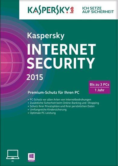 Kaspersky Internet Security, 3 User, 1 Jahr, gültig für 2015/2016, KEY