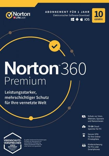 NORTON 360 PREMIUM 10 Geräte / 1 Jahr inkl. 75GB, KEIN ABO, ESD Download KEY