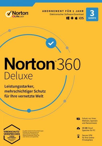 NORTON 360 DELUXE 3 Geräte / 1 Jahr inkl. 25GB, KEIN ABO, ESD Download KEY