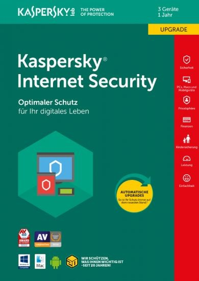 Kaspersky Internet Security, Upgrade, 3 Geräte, 1 Jahr, Download