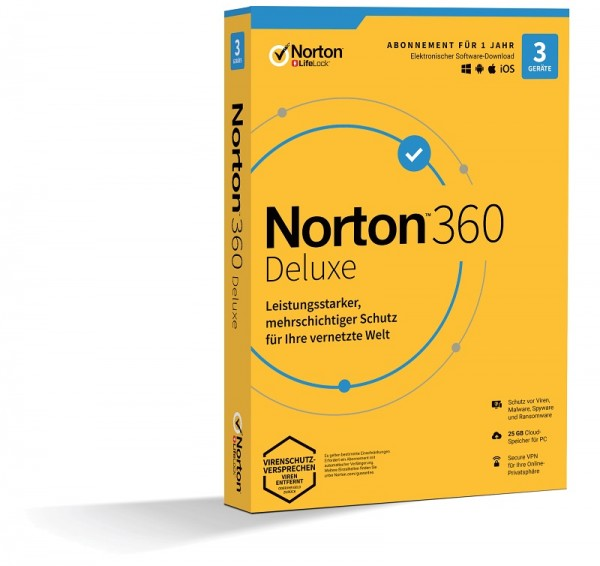 NORTON 360 DELUXE 3 Geräte / 1 Jahr inkl. 25GB KEIN ABO, BOX