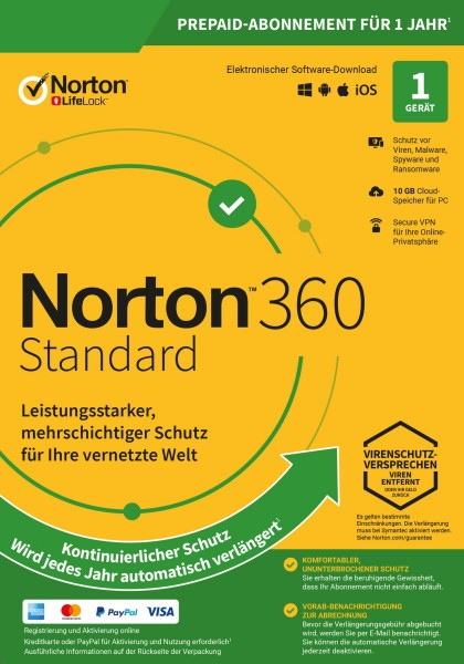 NORTON 360 STANDARD (Internet Security) 1-Gerät / 1-Jahr ABO inkl. 10GB, ESD KEY