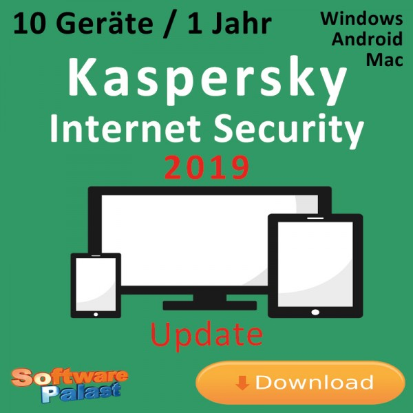 Kaspersky Internet Security 2019 *10-Geräte / 1-Jahr* Update, Download