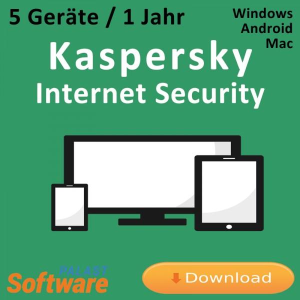 Kaspersky Internet Security, 5 Geräte, 1 Jahr, Download