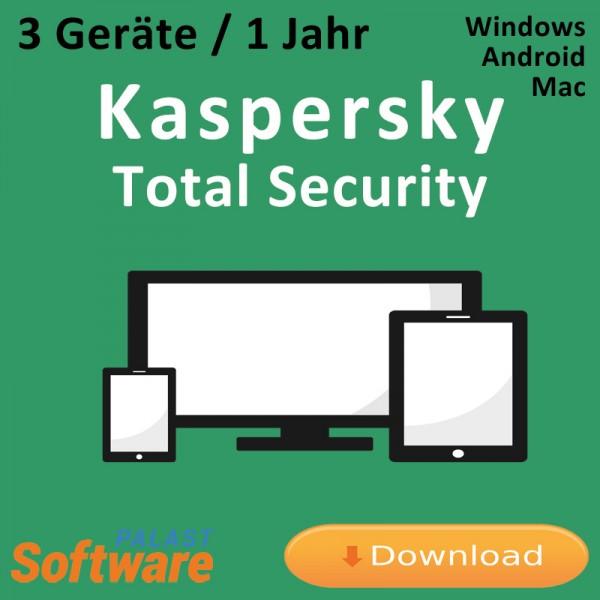Kaspersky Total Security, 3 Geräte, 1 Jahr, Download