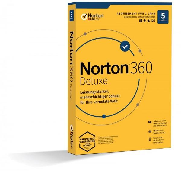 NORTON 360 DELUXE 5 Geräte / 1 Jahr inkl. 50GB KEIN ABO, BOX