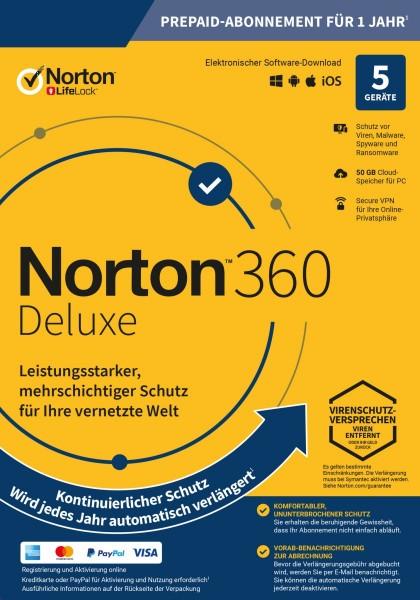 NORTON 360 Deluxe (Internet Security) 5-Geräte / 1-Jahr ABO inkl. 50GB, ESD KEY