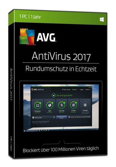 AVG AntiVirus 2017, 1 User, 1 Jahr, DVD-BOX