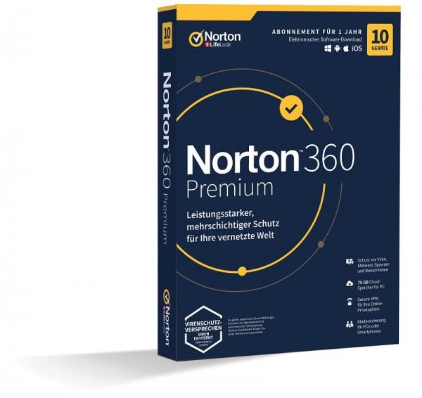 NORTON 360 PREMIUM 10 Geräte / 1 Jahr inkl. 75GB KEIN ABO, BOX