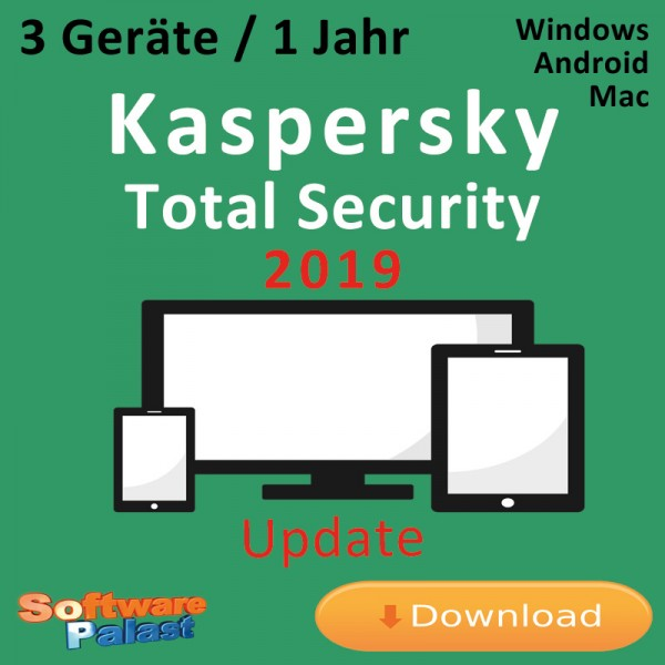 Kaspersky Total Security 2019 *3-Geräte / 1-Jahr* Update, Download