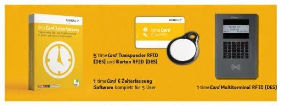 ReinerSCT timeCard Zeiterfassung Komplettpaket (bis zu 5 Mitarbeiter)