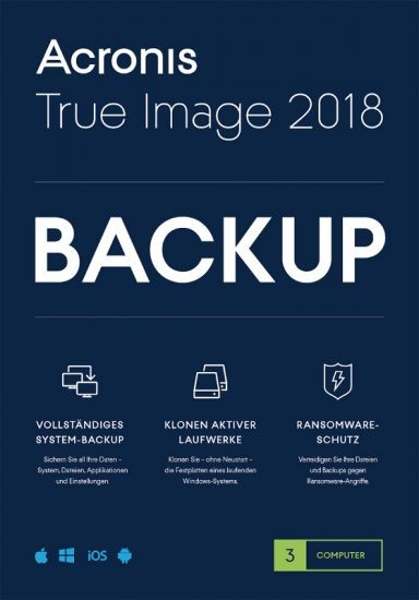 Acronis True Image 2018, 3 Geräte, Dauerlizenz, Download