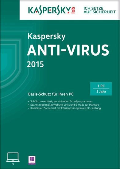 Kaspersky Antivirus 2015, 1 User, 1 Jahr, KEY